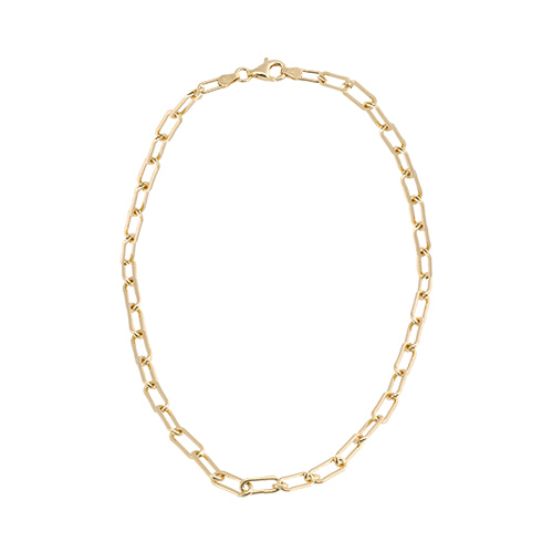 [All 92.5 Silver] Glossy Gold Chain Necklace