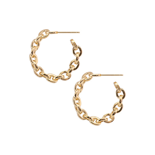 [All 92.5 Silver] Glossy Gold Chain Circle Earrings