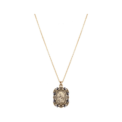 Byzantine Coin Pendant Necklace [Black]