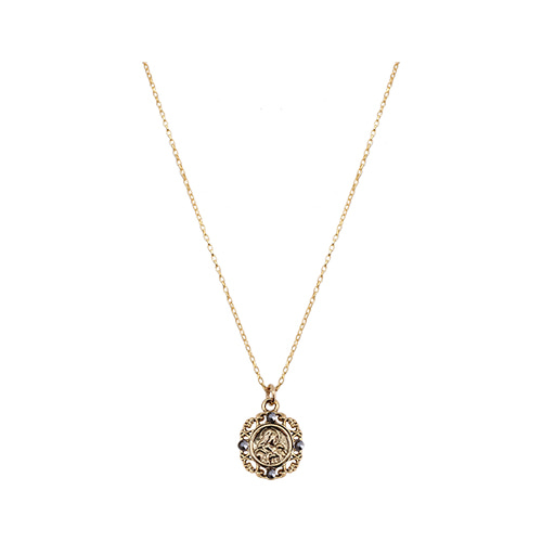 Byzantine Mini Coin Pendant Necklace [Black]