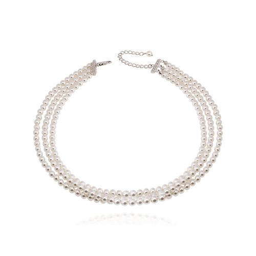 Triple Line Pearl Choker Necklace
