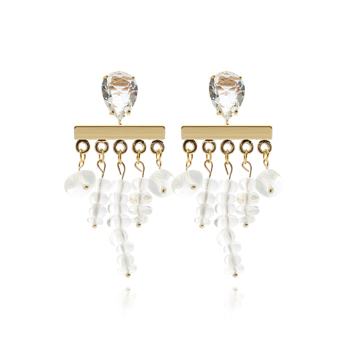 Natural Crystal Drop Earrings
