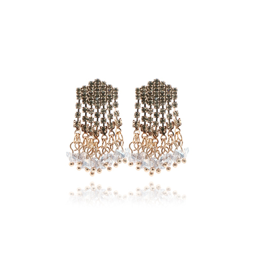 Rhombus Crystal Drop Earrings