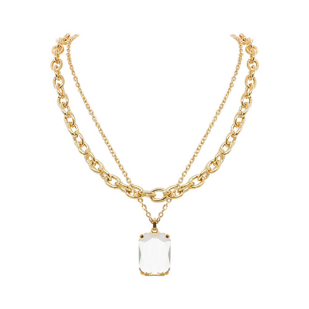 Crystal Layered Chain Necklace