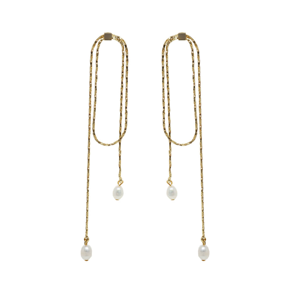 Double Chain Long Drop Earrings