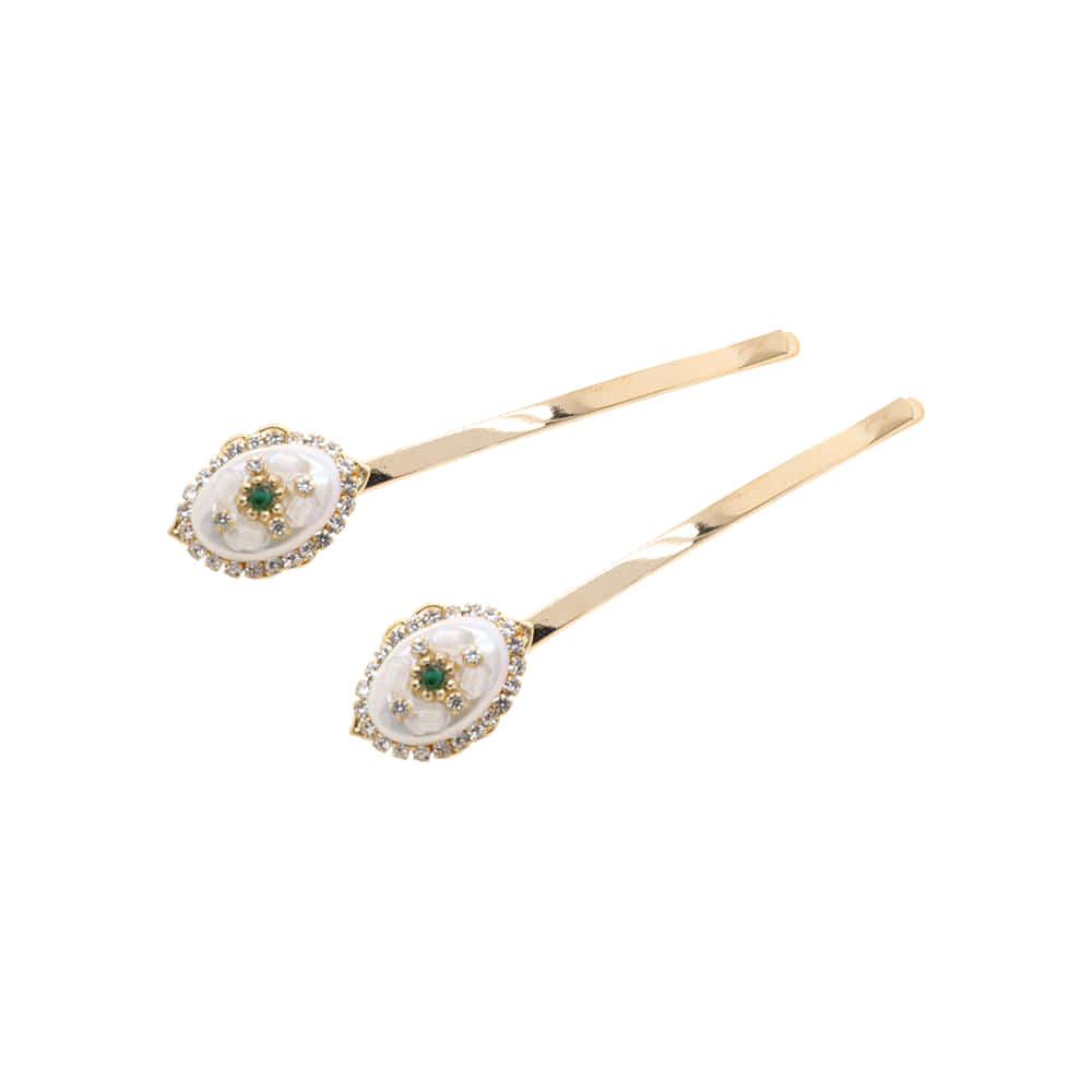 Antique Green Onix Gemstone Hairpin SET